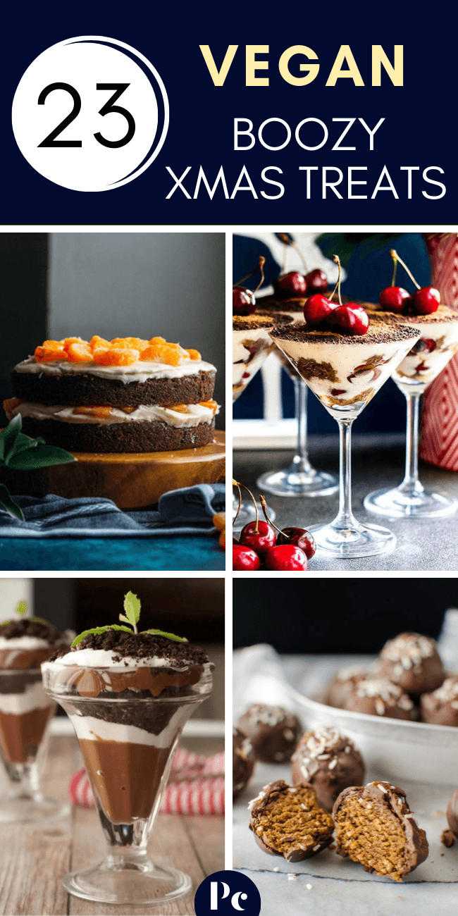 These Vegan Boozy Christmas Dessert Recipes are the perfect alcoholic treats for adults. Spiked cupcakes, hot chocolate, truffles, fruit cakes and other deliciousness that will make the grown up's holiday party fun! | Plantcake #vegan #veganrecipes #Christmas