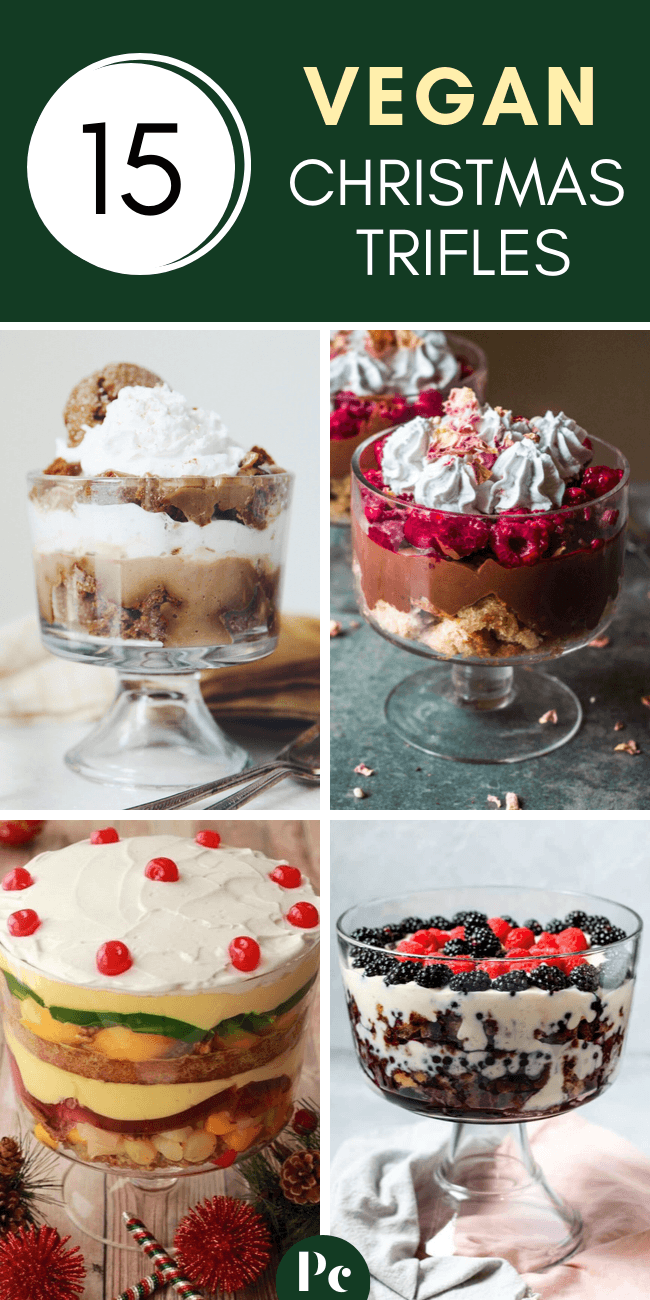 These Vegan Christmas Trifles (Parfaits) are the perfect dessert if you host a lot of people for the holidays! Layers of delicious ingredients like sponge cake, custard, chocolate, fruits and more. | Plantcake #vegan #veganrecipes #Christmas