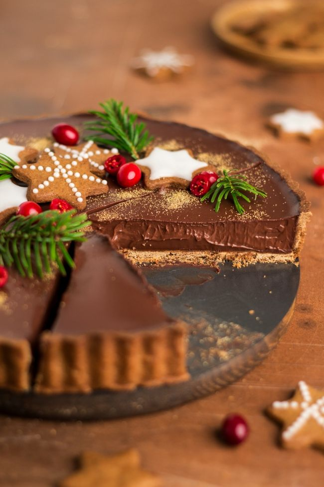 Gingerbread Amaretto Chocolate Tart