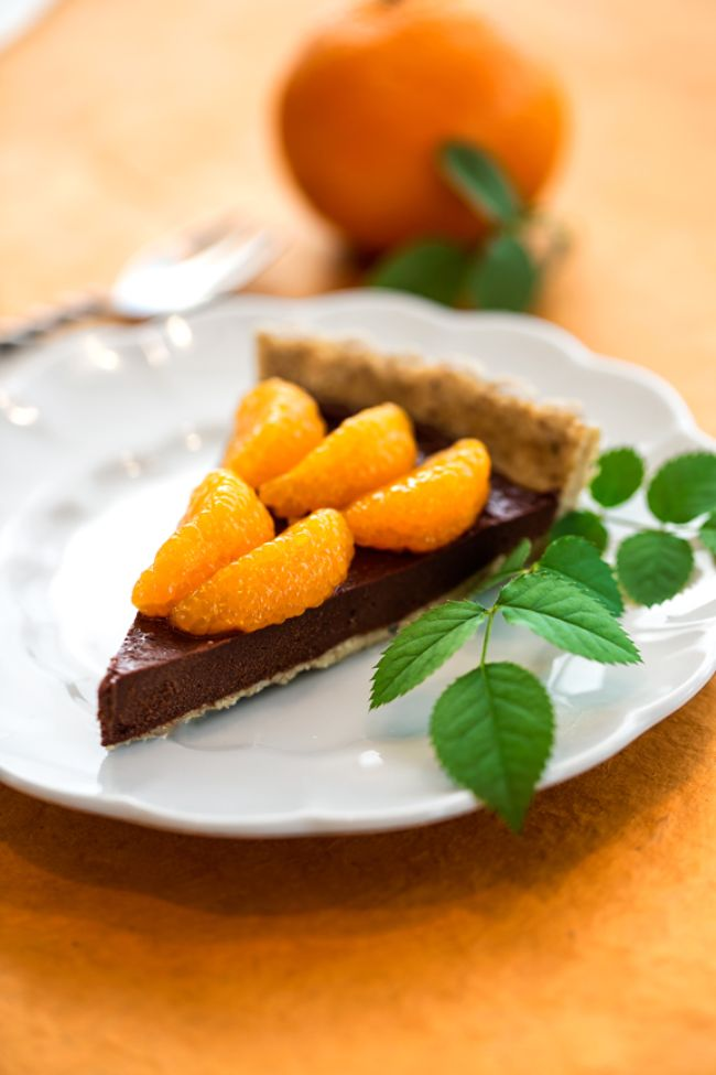 Raw Chocolate Fudge and Mandarin Orange Tart