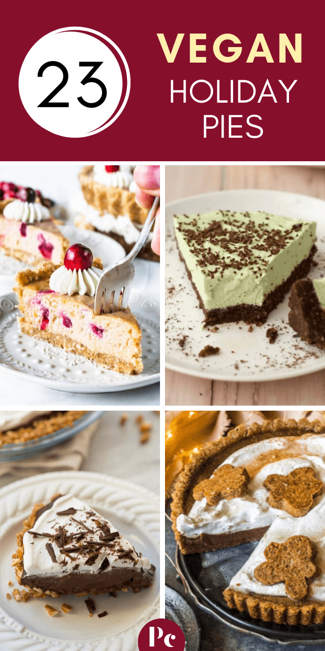 Vegan Holiday Pies for Christmas and Thanksgiving - Whether you're looking for traditional desserts like apple and pumpkin pie or exciting ones like ginger and mint, this list is for you! | Plantcake #vegan #veganrecipes #Christmas #Thanksgiving