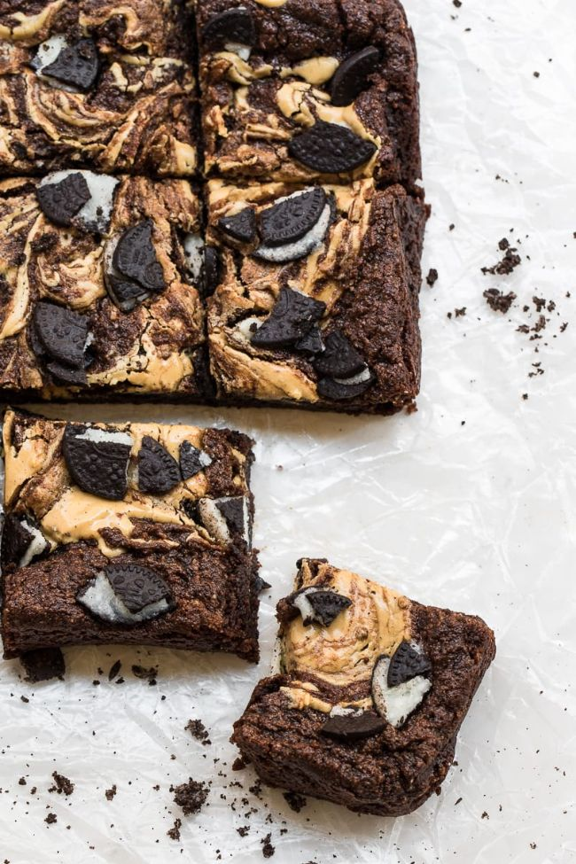Fudgy Oreo Brownies with Peanut Butter