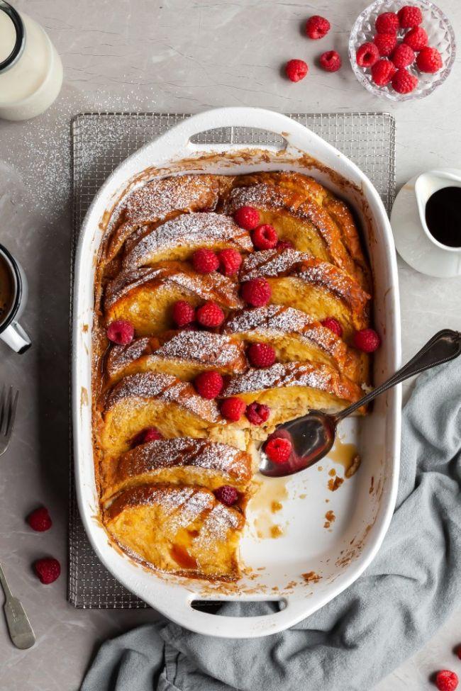 Lemon Raspberry French Toast Bake