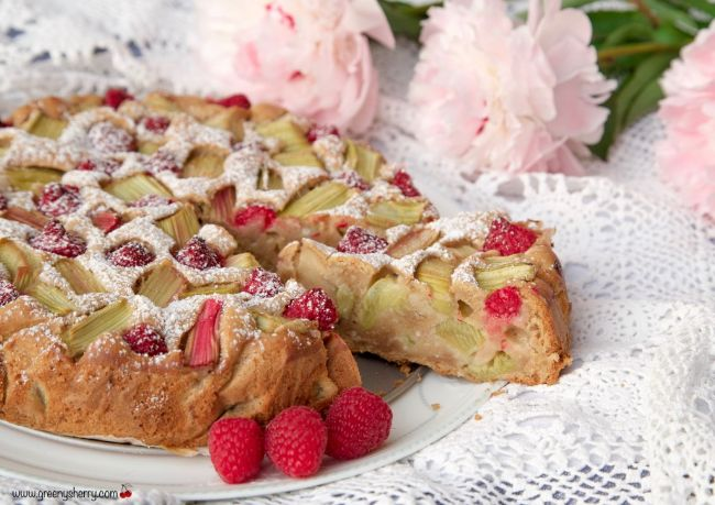 Rhubarb Marzipan Cake with Raspberries