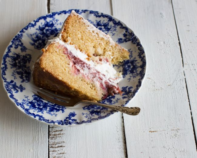 Rhubarb Hibiscus + Whipped Coconut Cream Layer Cake