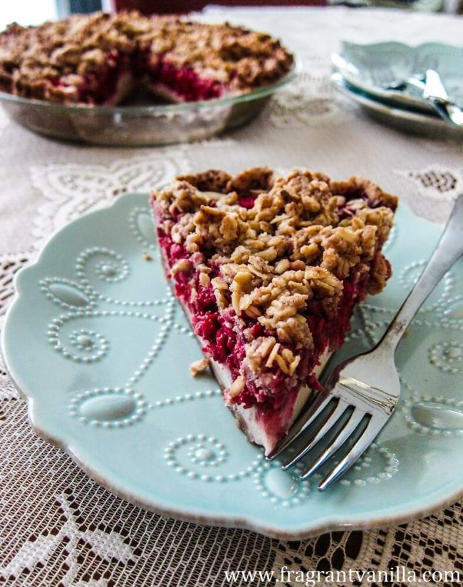 Raspberry Rhubarb Cream Cheese Pie