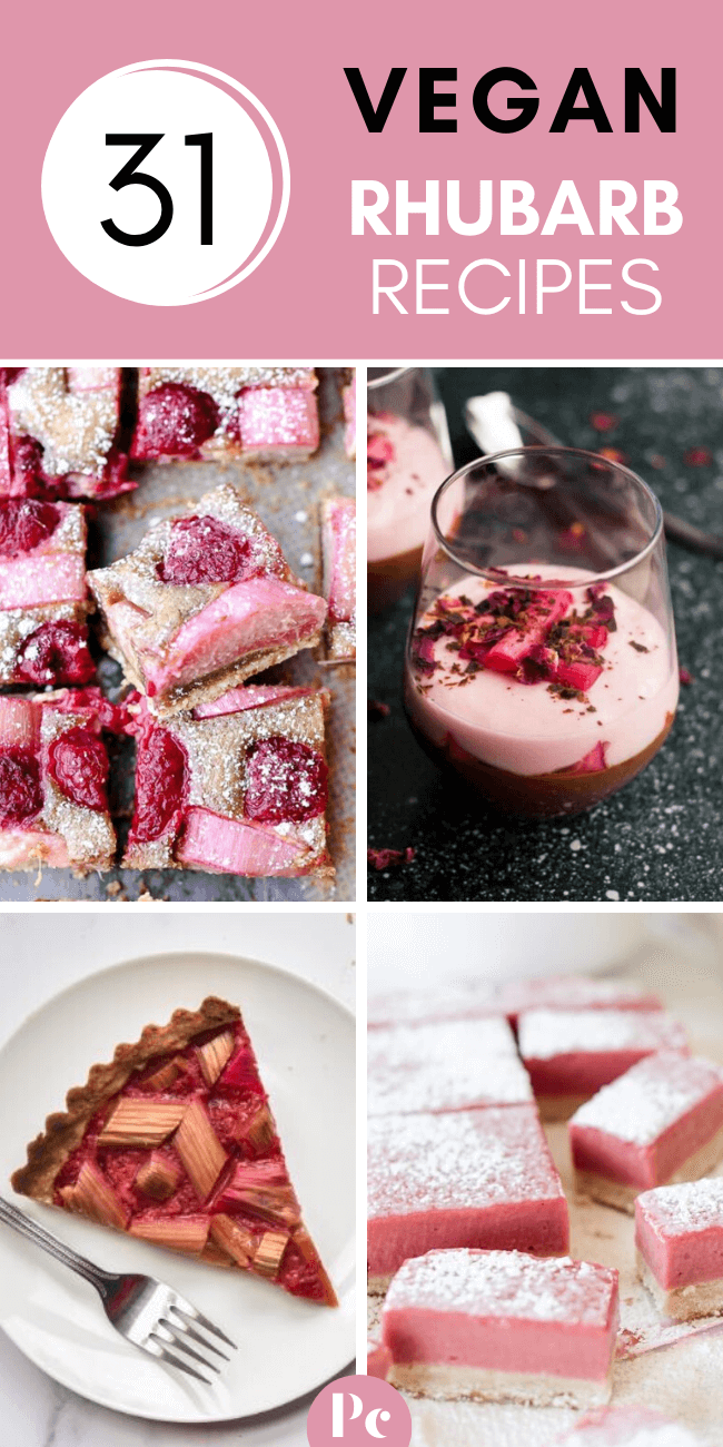 These Vegan Rhubarb Recipes are the perfect desserts for Spring! No one will be able to resist these delicious and beautifully pink tarts, crumbles, muffins and pies! But why would they have to? ;-) | Plantcake #vegan #veganrecipes