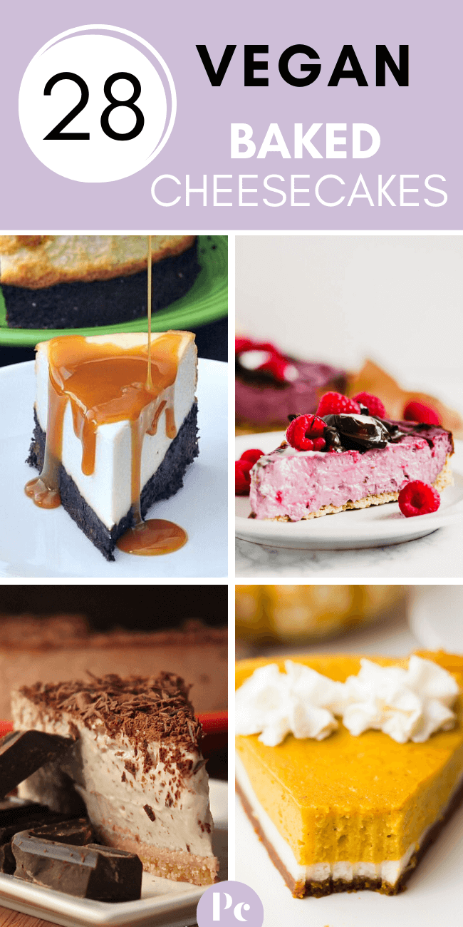 Fire up your oven and make these Vegan Baked Cheesecake Recipes for a heavenly, creamy dessert. You'll find ones with no cashews, with tofu, nut-free, New York style...etc. | Plantcake #vegan #veganrecipes