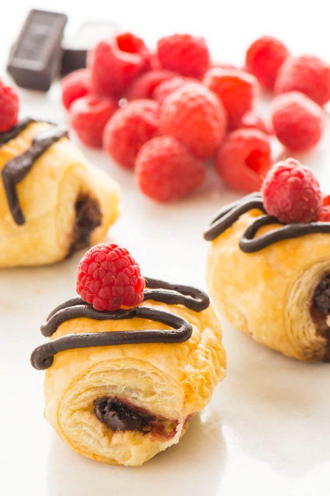Chocolate Croissants Recipe with Raspberries