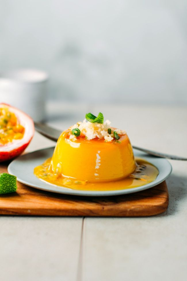 Mango and Passion Fruit Flan