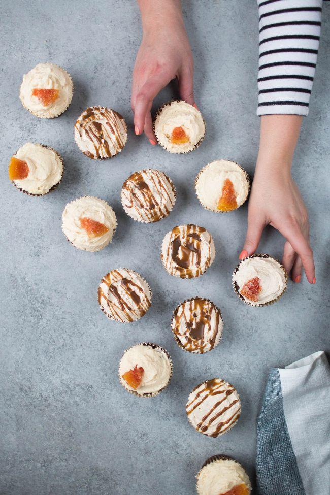 Chocolate Grapefruit and Dulce de Leche Cupcakes