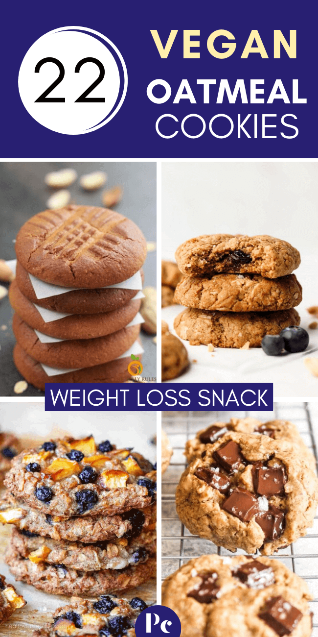 Make these Vegan Oatmeal Cookie Recipes for an easy weight loss snack! They only require a few healthy ingredients (no butter!) and are ready in no time! | Plantcake #vegan #veganrecipes