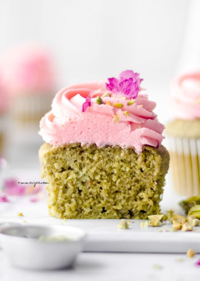 Pistachio Matcha Cupcakes with Rosewater Frosting