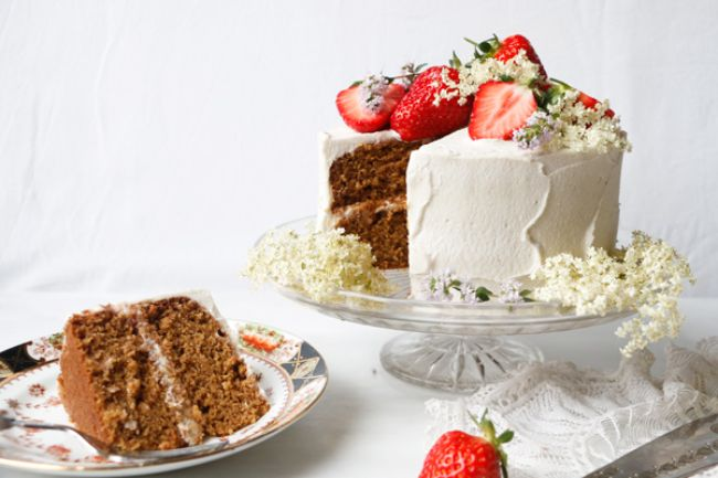 Strawberry Elderflower Layer Cake