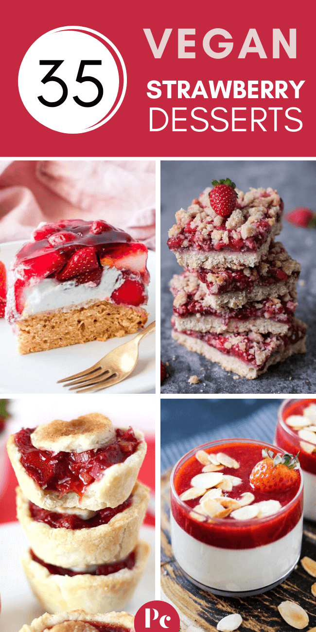 These Vegan Strawberry Dessert Recipes are quick and easy to make and full of fresh, juicy berries. You'll have a hard time saying no to these heavenly cake, shortcake, cheesecake, pie, muffin and ice cream treats... | Plantcake #vegan #veganrecipes
