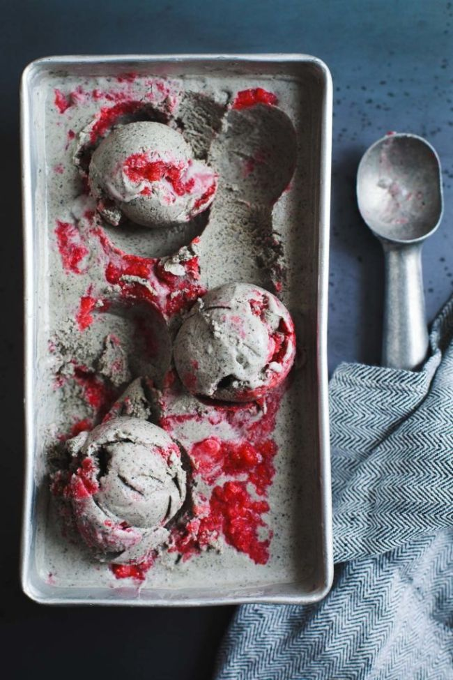 Black Sesame Ice Cream with Strawberry Swirl