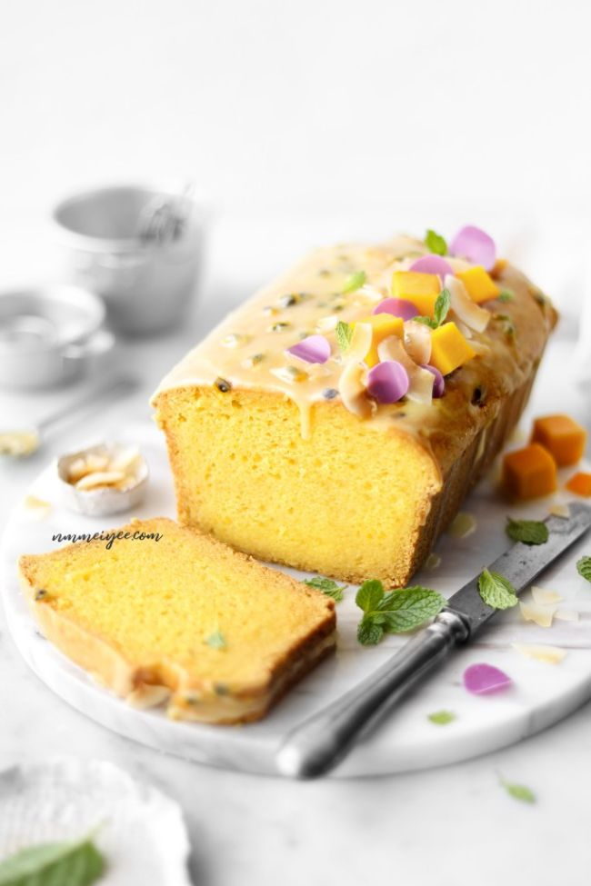 Mango Yogurt Cake with Passion Fruit