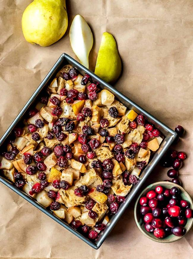 Cranberry Pear French Toast Casserole
